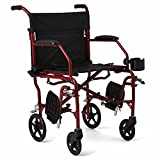 Medline Ultralight Transport Chair, 19 Wide Seat, Permanent Desk-Length Arms, Swing Away Footrests, Red Frame