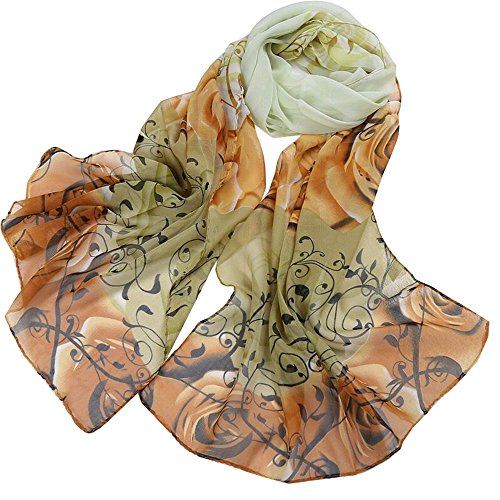 Women's 100% Chiffon Scarf Neck Fashionable Printing Country Style Lightweight scarves for Ladies and Girls