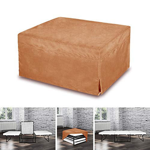 SPACE INNOVATIONS Ottoman Folding Bed,Camel Suede Cover, Foam Mattress, Folding Convertible Sleeper Bed with Guest Hideaway Bed, No Assembly Required,SI-CB11