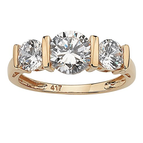 Classic 3 Stone Channel Ring - Round White Cubic Zirconia 10k Yellow Gold 3-Stone Bridal Engagement Ring Size 6