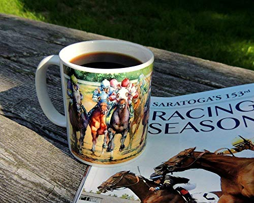 (Horse Racing Coffee Mug, Gift For Dad, Racing Merchandise Mug Holds 11oz Painting by Cheryl Chalmers)