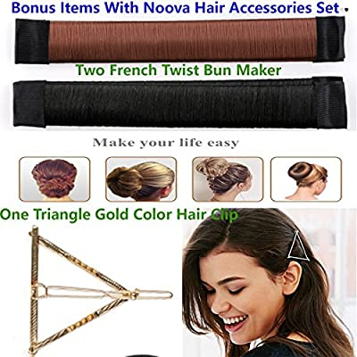 Noova Bun Maker Ponytail Holder -Topsy Tail Hair Tool Styling Accessories Set For Women Includes Bobby Pins Elastics Hair Braid Magic Twist Short & Long Hair Quality DIY Kit for Womens & Girls