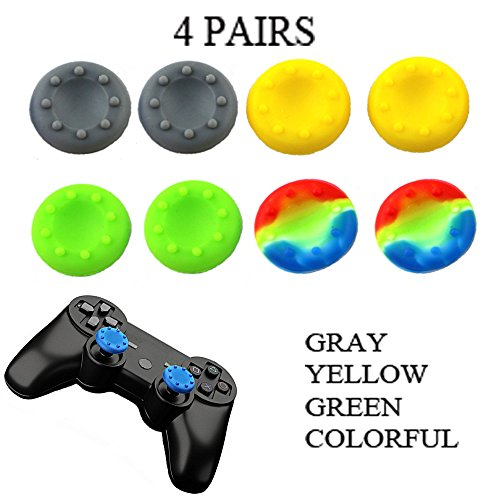WELLSKEY 4 Pairs Thumb Grip Stick Cover For PS4 PS3 PS2 XBOX 360 ONE WII - Case Skin Joystick Controller - Pack of 8 pcs (2 Gray + 2 Yellow + 2 Green + 4 Multicolor) Set # 15
