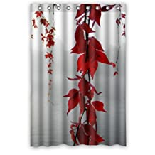 "Mayers 48""(W) x 72""(H) 100% Polyester Poetry Red Leaf Hanging Over The River Fashion Trend Shower Curtain,Bathroom Curtain"