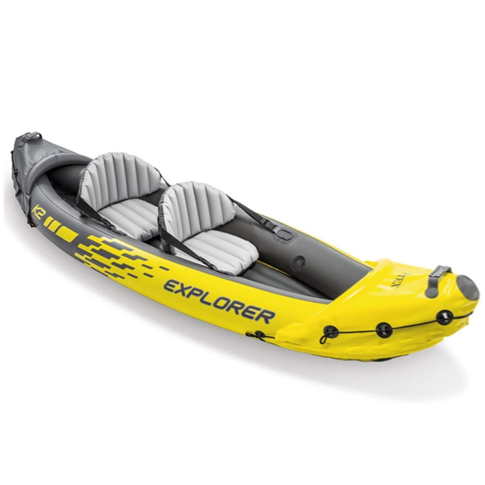 Zhouminli Inflatable Kayak Drifting to Send Boat Propeller Air Pump Two-Person Inflatable Boat Rubber Rowing Boat Double Assault Boat (Color : Yellow, Size : 312×91×51CM) by Teerwere-pht