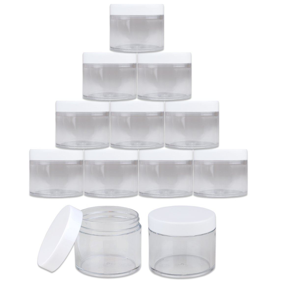 Beauticom 60 Grams/60 ML (2 Oz) Round Clear Leak Proof Plastic Container Jars with White Lids for Travel Storage Makeup Cosmetic Lotion Scrubs Creams Oils Salves Ointments (12 Jars)