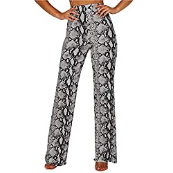 Creazrise Womens Boho Animal Print Look Lady Long Leopard Snaks Pants High Waist Palazzo Pants Black