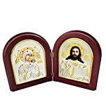 FengMicon Greek Orthodox Church Catholic Icon Wooden Diptych of Virgin Mary Byzantine and Jesus
