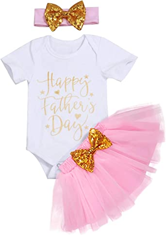 Newborn Baby Girl Happy First Father/'s Day Romper Skirt Outfits Clothes 4pcs Set