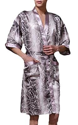 KLJR-Men Short Sleeve Silk Kimono Bathrobe Printed Lightweight Loungewear Robe