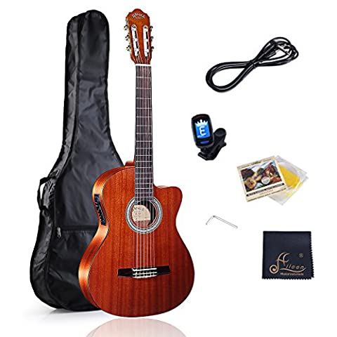 WINZZ Classic Cutaway Acoustic Electric Guitar with Strings, Bag, Cleaning Cloth, Tuner and Cable (Acoustic Classic)