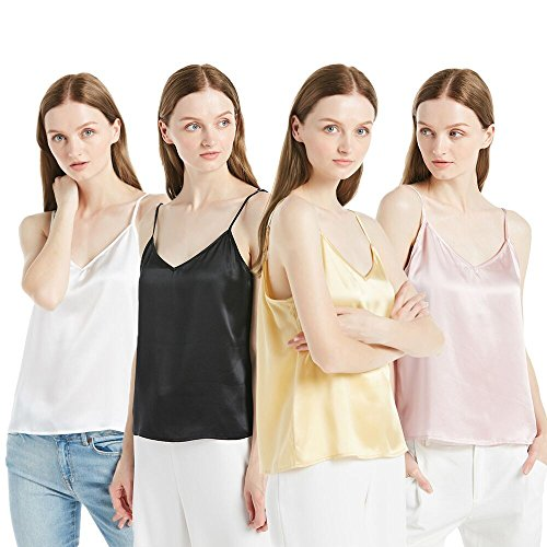 LilySilk Women's 100 Silk Camisole Charmeuse Mulberry 22mm V Neck Elegant Tank Tops for Ladies 4 Pack White+Black+Gold+Pink XS/0-2