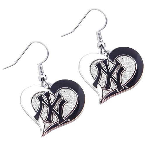 Yankees Heart - MLB New York Yankees Swirl Heart Dangle Logo Earring Set Charm Gift