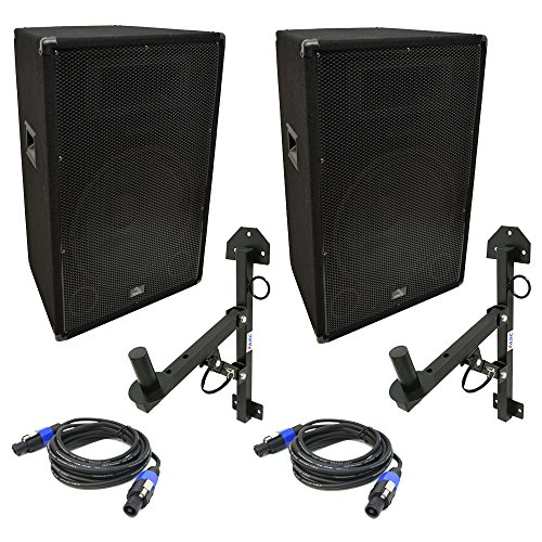 Harmony Audio HA-V15P DJ 15'' Passive 900W PA Speaker Speakon Cable & Wall Mount by Harmony Audio