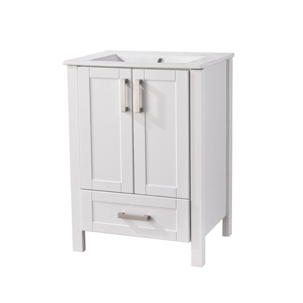 Heselian HESE001 Modern Single Bathroom Vanity with Ceramics Sink, Include 2 Doors and 1 Drawer, White by Heselian