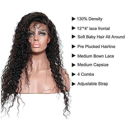 Brazilian Remy Hair 130% Density Full Pre Plucked Natural Hairline Deep Curly Long Human Hair Lace Front Wigs for African American Black Women with Baby Hair 20inch by Sarah Wig (Image #2)