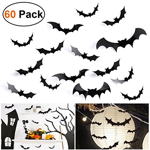 Unomor 60PCS 3D Bats Wall Sticker Halloween Party Decorations Wall Decorations 4 Different Type Size-Super Size 9.7