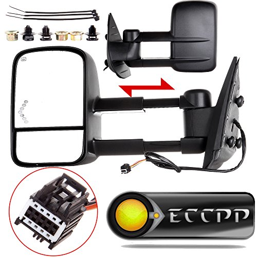 - ECCPP Towing Mirrors Replacement fit for 2008-2013 Chevy Avalanche Tahoe Silverado Suburban GMC Sierra 1500 Yukon Power Heated Arrow Signal Towing Mirrors