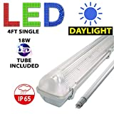 4FT SINGLE LED 18W - NON CORROSIVE WEATHERPROOF FLUORESCENT LIGHT FITTING - IP65 - ENERGY EFFICIENT OUTDOOR STRIP LIGHT - IDEAL FOR GARAGES, WORKSHOP, SHEDS, GREENHOUSES OR COMMERCIAL APPLICATIONS - STURDY CONSTRUCTION - POLYCARBONATE DIFFUSER - BRANDED - 3 YEAR LAMP GUARANTEE - INCLUDES LED TUBE 18 WATT - DAYLIGHT COLOUR 6000K