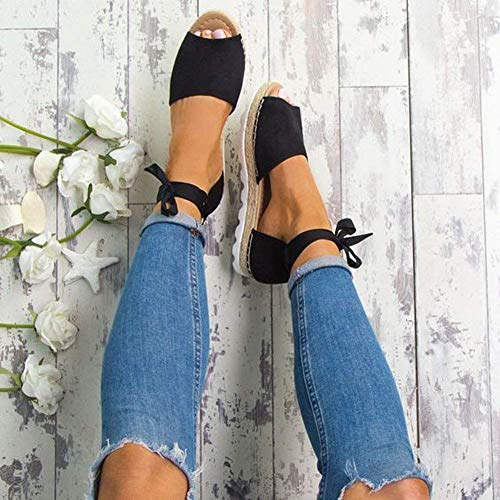 Minetom Dolce Estivi Eleganti Sandali Caramella Sandals Basso Casuale Scarpe Donna Peep Nero Toe Tacco Colore Shoes Spiaggia 0xw0nqrvE
