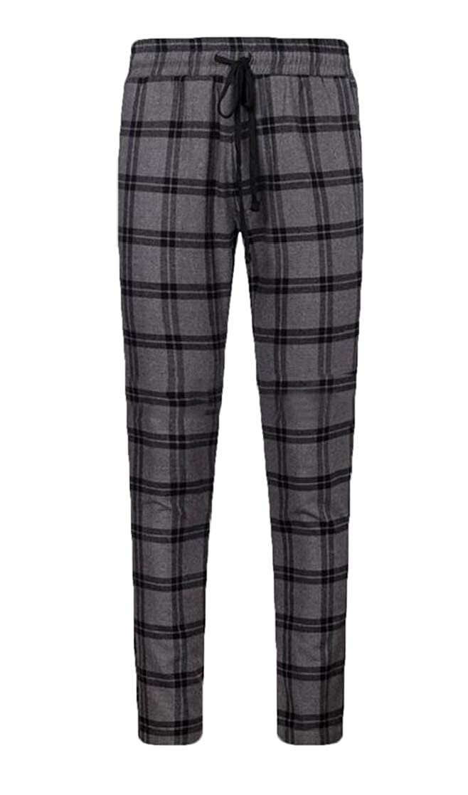 Gnao Mens Drawstring Checked Cotton Stylish Slim Fit Stretch Knit Lounge Pants