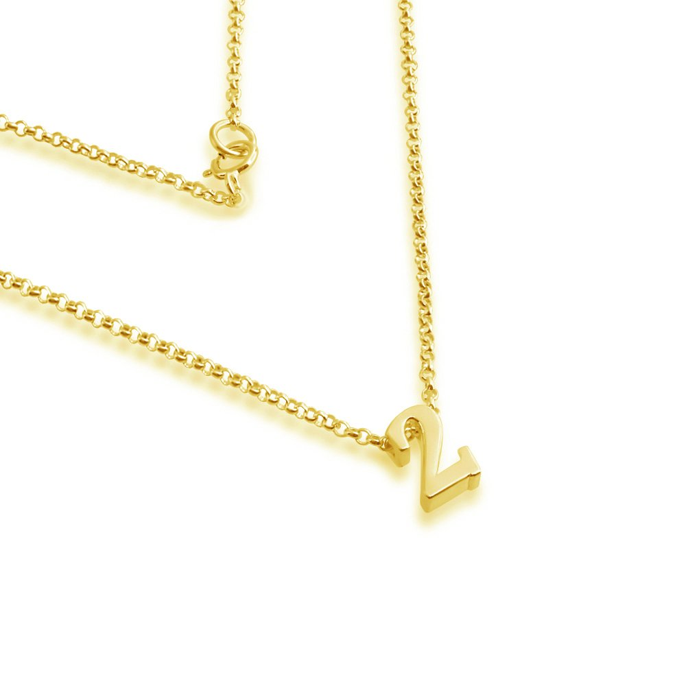 Azaggi Gold Plated Sterling Silver Necklace Initial Number 2 Pendant Personalized Symbols Letters Serif Font Lobster Claw Clasp .This Gold Plated Pendant Necklace is the Perfect Charm Jewelry Gift