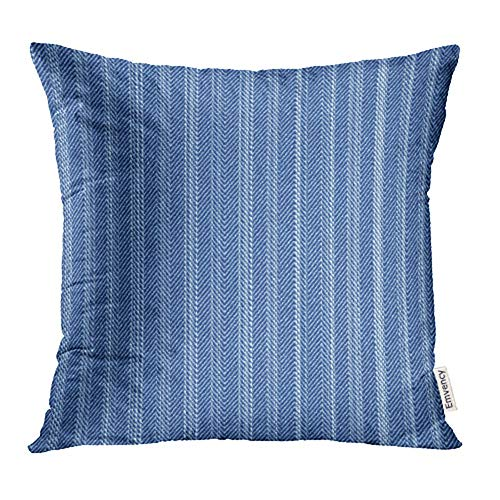 (Emvency Throw Pillow Covers Decorative Cases Stripe Abstract Subtle Washed Blue Denim Herringbone Indigo Material Brushed 20x20 Inch Cover Cushion Pillowcase Square Case Print)