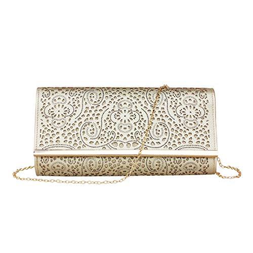 Womens Faux Leather Envelope Clutch Bag Evening Handbag Shouder Bag Wristlet Purse With Chain Strap. (gold)