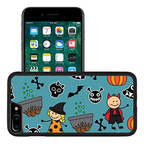 [Luxlady Premium Apple iPhone 7 Plus Aluminum Backplate Bumper Snap Case iPhone7 Plus IMAGE ID: 32098520 Halloween seamless pattern with boiler monster pumpkins and other symbols of the] (Cute Halloween Ghost Clip Art)