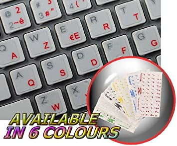 FRENCH AZERTY KEYBOARD STICKER WITH BLACK LETTERING ON TRANSPARENT BACKGROUND