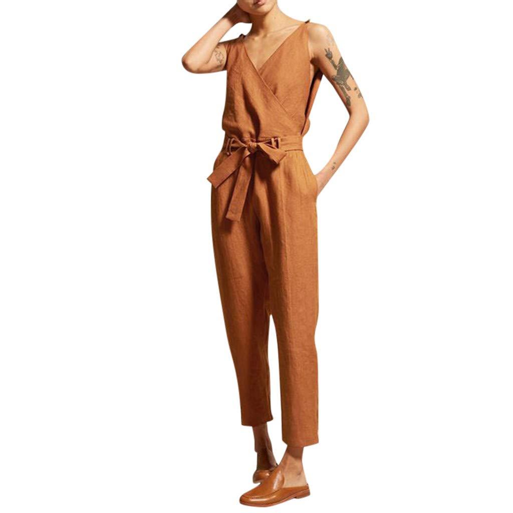 TOTOD Jumpsuits, Women's Solid Color Sleeveless V-Neck Belt Slim Plus Size Casual Linen Long Playsuit Rompers Orange