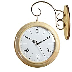 Solid wood double sided wall clock Living room creative two-sided clocks [large] Simple Woody Mute decorative clock-B