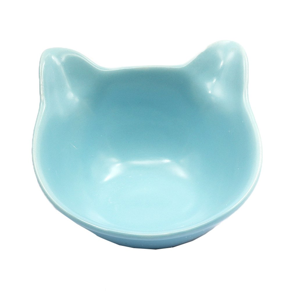 Forever-You Ceramic cat face Bowl Beveled cat and Dog Food Bowl Water Bowl Large, bluee