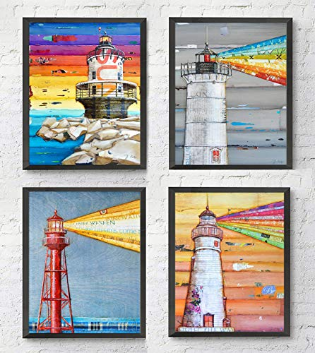 Lighthouse Art Prints, Set of 4, By Danny Phillips, Unframed, Mixed Media Collage Wall Art Decor Posters, 8x10 Inches 10 Mixed Media Print