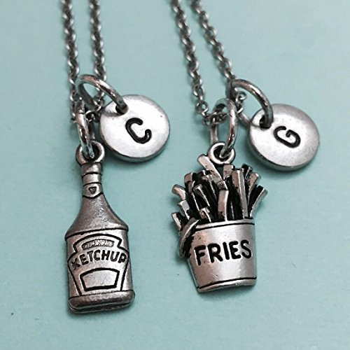 Best friend necklace, French fry necklace, ketchup necklace, food charm, bff necklace, friendship, sister necklace, friends, personalized