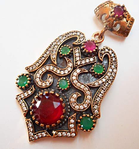 (NYSK dream Antique Turkish Ottoman Gold Vermeil on 925 Silver Diamond Ruby Emerald Pendant)