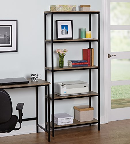 Target Marketing Systems 60033NAT Piazza 3-Tier Bookcase Occasional 3 Black Metal/Reclaimed Look Finish 51pkotew2DL