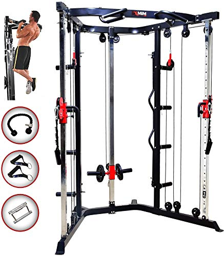 MiM USA Functional Trainer | Cable Crossover Machine |Triceps Rope V Bar Handle Grip and Curl Bar Included |180 Degree Pulley Rotation | 21 Height Positions | Super FT 44 Pro