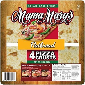 Mama Mary's, Prepared Pizza Crusts, Flatbread Crusts (4 Crusts), 16oz Bag, (Pack of 3) (Choose Types Below) (Flatbread Crusts (4 Pack))