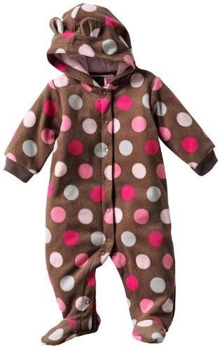 Carter's Baby Girls One-piece Long Sleeve Polyester Microfleece Brown/Pink Polka Dot Footed and Hooded Pram Suit (3 Months)