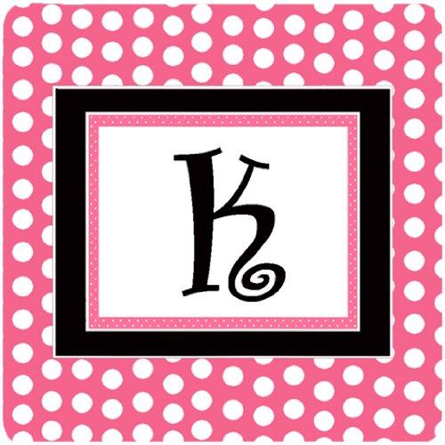 Caroline's Treasures CJ1001-KFC Monogram-Pink Black Polka Dots Foam Coasters (Set of 4), Initial Letter K, 3.5