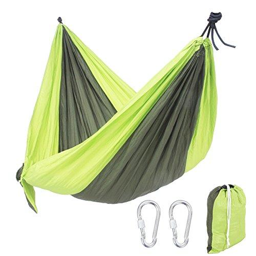 Songmics Ultraleichte Camping Hängematte 300 x 140 cm Fallschirm-Nylon Ultraleicht schnell trocknende Enthalten 2 x Karabinerhaken 210 kg GDC30B