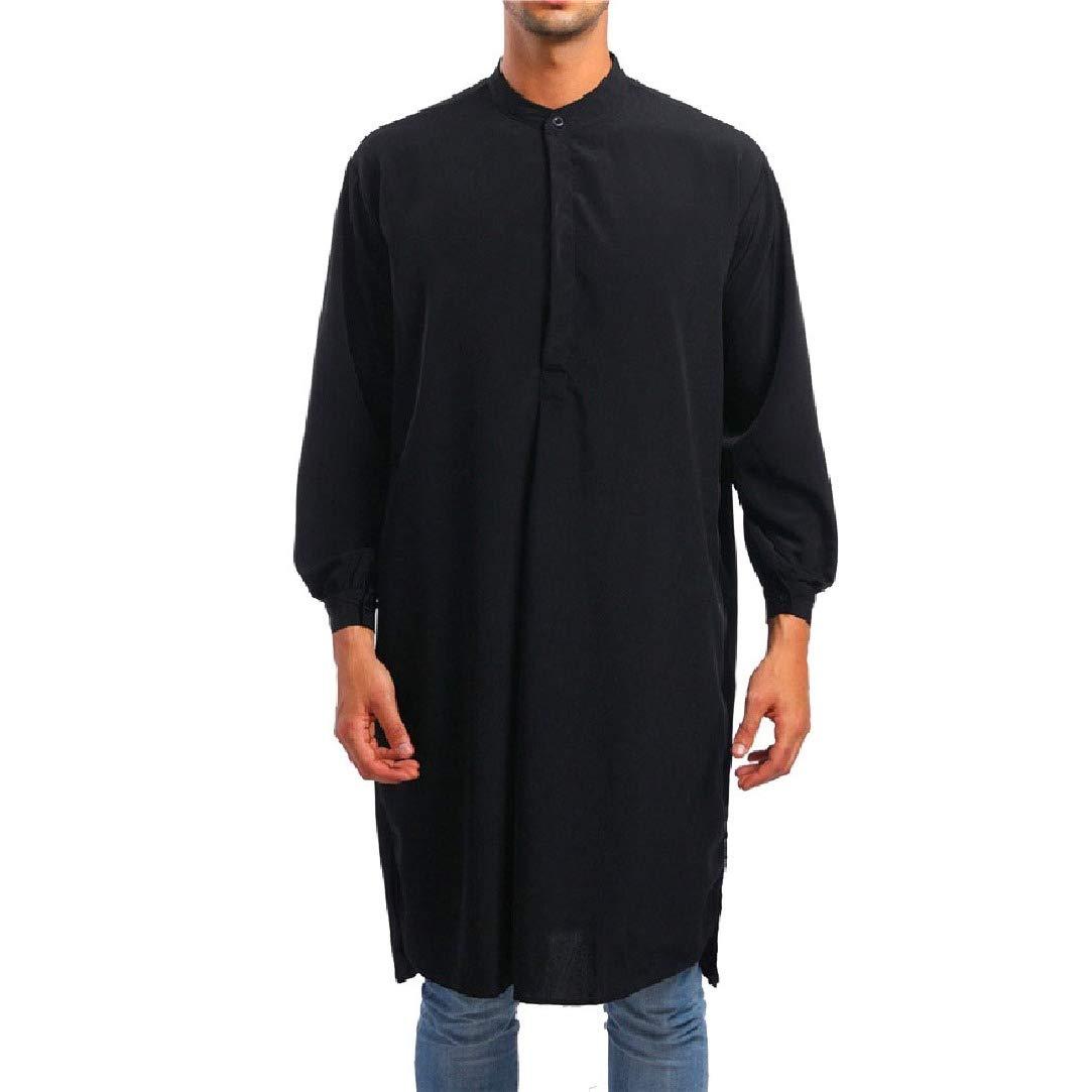 HEFASDM Mens Muslim Dress Islamic Regular Fit Blouses and Tops Shirts