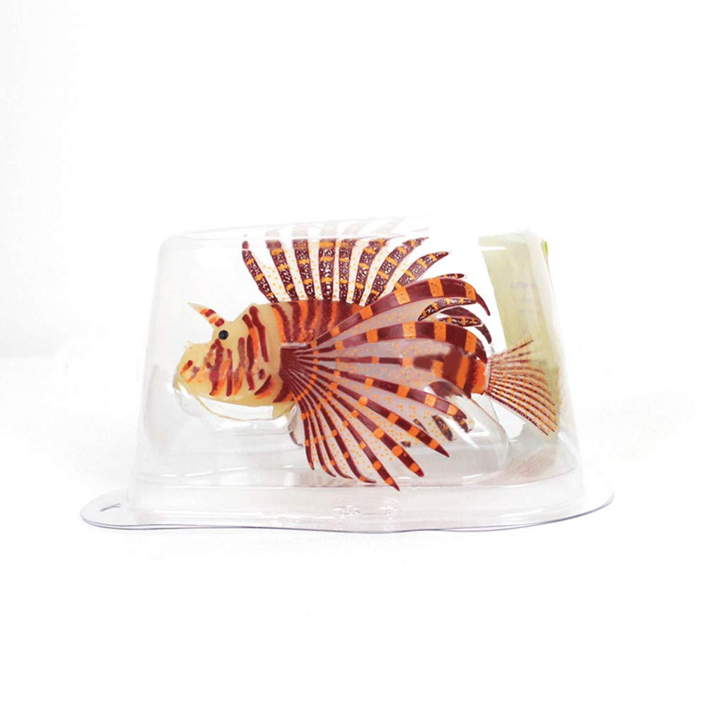Glumes 1Pcs Aquarium Artificial Colorful Glowing Fish Silicone Lionfish Floating Decorations Ornaments for Fish Tank Ornaments