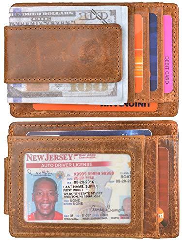 Mens Money Clip Wallet RFID Slim Wallet Genuine Leather Thin Front Pocket Wallet (B Retro Oil Deep -