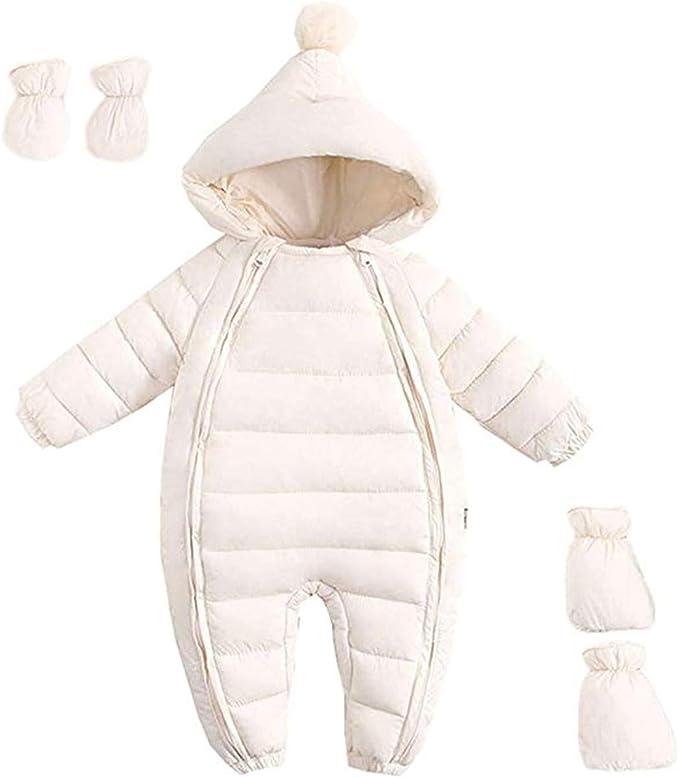 FAIRYRAIN Baby Jungen M/ädchen Schneeanzug Daunenanzug Strampler mit Kapuze Handschuhe Footies Quilted Pramsuit Outdoor Winter Snowsuit
