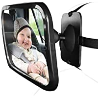 Hillington ® Large Universal Car Back Seat Shatterproof Safety Child Toddler Infant Clear Wide Rear View Facing Baby Mirror with Fully Adjustable Tilt Turn Anti-Wobble Headrest Fixing Straps