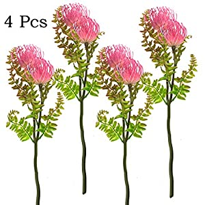 Artificial Fake Flowers Greenery 4 Bundles Outdoor Artificial Plant UV Resistant Shrubs Plastic Boston Fern Bush Hanging Planter Decor 42