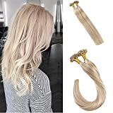 LaaVoo Real Remy Fusion Hair Extensions Keratin U Tips Ash Brown with Blonde #613 18inch Remy Hair Extensions Glue in Hair 50g/pack