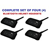 Bluetooth Helmet Headsets (Set of 4) - Supports Mobile, GPS, Intercom (4 people, 4000ft), Built-in FM Radio